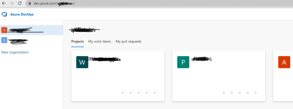 Główna strona Azure DevOps - wybór organizacji iprojektu